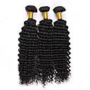billige Remy fletninger af menneskehår-3 Bundler Peruviansk hår Krøllet / Krøllet væv Menneskehår Menneskehår, Bølget Menneskehår Vævninger Menneskehår Extensions