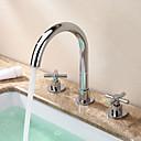 baratos Torneiras de Banheiro-Moderna Modern Difundido Separada Válvula Cerâmica Duas alças de três furos Cromado, Torneira pia do banheiro