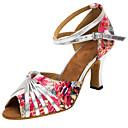 preiswerte Kostümperücke-Damen Schuhe für den lateinamerikanischen Tanz / Salsa Tanzschuhe Satin Sandalen / Absätze Schnalle / Rüschen / Blume Maßgefertigter