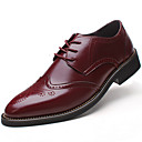 cheap Men's Oxfords-Men's Formal Shoes Leather Spring / Fall Business / Comfort Oxfords Slip Resistant Black / Brown / Burgundy / Wedding / Party & Evening / Block Heel / Brogue / Leather Shoes