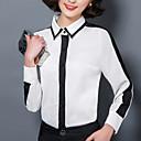 preiswerte Schmuck Sets-Damen Einfarbig Übergrössen Hemd, Hemdkragen Gitter Leinen Polyester