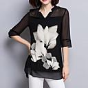 baratos Lixas e Polidores de Unha-Mulheres Blusa Moda de Rua Fenda, Floral Decote V Preto & Branco