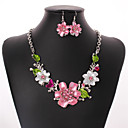 cheap Jewelry Sets-Women's Cubic Zirconia Jewelry Set - Zircon, Silver Plated Flower Bohemian, European, Fashion Include Drop Earrings / Statement Necklace Rainbow For Wedding / Party / Daily