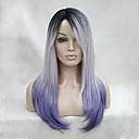 billige Rejsetasker-Syntetiske parykker Lige / Kinky Glat Syntetisk hår Ombre-hår / Mørke hårrødder / Midterskilning Lilla Paryk Dame Lang Lågløs