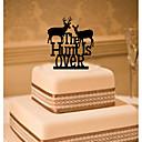 baratos Decorações de Bolo-Decorações de Bolo Tema Clássico Monograma Acrílico Casamento com Flor 1 Caixa de Ofertas