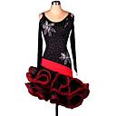 olcso Latin ruha-Latin tánc Ruhák Női Teljesítmény Chinlon / Organza Cakkos Ruha