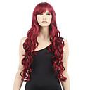 olcso Emberi hajból készült parókák-Szintetikus parókák Hullámos haj Szintetikus haj Piros Paróka Női Hosszú Sapka nélküli Burgundi vörös