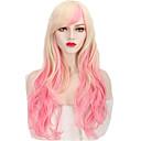 abordables Pendientes-Pelucas sintéticas / Pelucas de Broma Ondulado Rosa Pelo sintético Rosa Peluca Mujer Larga Rosa