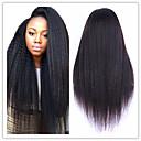 tanie Warkocze-Nieprzetworzone włosy naturalne Front lace bez kleju Peruka Włosy brazylijskie Kinky Straight Yaki Natura Czarny Peruka 130% Gęstość włosów z Baby Hair Naturalna linia włosów Peruka afroamerykańska
