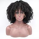billiga Syntetiskaperuker med lace-Syntetiska snörning framifrån Afro / Kinky Curly Stil Spetsfront Peruk Svart Svart Syntetiskt hår Dam Afro-amerikansk peruk Svart Peruk Korta / Mellan / Lång Modernfairy Hair Naturlig peruk