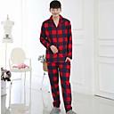 billige Skuldervesker-Herre Skjortekrage Dress Pyjamas - Ruter