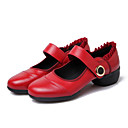 cheap Dance Sneakers-Women's Latin Shoes / Jazz Shoes / Dance Sneakers Leather Sneaker Chunky Heel Non Customizable Dance Shoes Black / Red / Practice