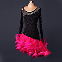 cheap Latin Dance Wear-Latin Dance Dresses Performance Spandex / Lace / Organza Ruffles / Crystals / Rhinestones Long Sleeve High Dress