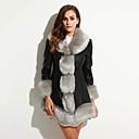 お買い得  レディースコート&トレンチコート-女性用 プラスサイズ ファーコート Vネック ソリッド クラシック