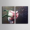 זול שעוני קיר מוטבעים בציורי קנבס-מודרני / עכשווי בַּד מלבני בבית,AA