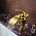 tanie Baterie łazienkowe-Bateria do umywalki łazienkowej - Wodospad Ti-PVD Umieszczona centralnie Jeden uchwyt Jeden otwórBath Taps / Mosiądz