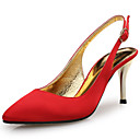 cheap Women's Heels-Women's Shoes Silk Spring / Summer Comfort Sandals Stiletto Heel Pointed Toe Red / Green / Almond / Wedding / Party & Evening