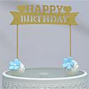 abordables Decoraciones de Pastel-Decoración de Pasteles Tema Playa Corazones Papel de tarjeta Cumpleaños con Pajarita 1 OPP