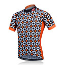 cheap Cycling Jerseys-Fastcute Men's Short Sleeve Cycling Jersey Cycling Jacket - Orange Plaid / Checkered Bike Jersey, Breathable Quick Dry Sweat-wicking Polyester / Stretchy / Advanced