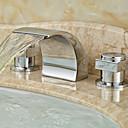 رخيصةأون حنفيات مغاسل الحمام-زهري واسع الأنتشار شلال صمام سيراميكي مقبضين ثلاثة ثقوب الكروم, بالوعة الحمام الحنفية