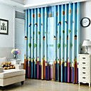 cheap Blackout Curtains-Rod Pocket Grommet Top Tab Top Double Pleat Pencil Pleat Two Panels Curtain Country, Print Flower Bedroom Polyester Material Blackout