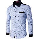 お買い得  自転車用グローブ-男性用 プリント プラスサイズ シャツ レギュラーカラー パッチワーク コットン / 長袖