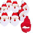 お買い得  クリスマスデコレーション-サンタクロースのナプキンリングの4本不織布ナプキンセット