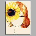 billige Oljemalerier-Hang malte oljemaleri Håndmalte - Mennesker Klassisk Europeisk Stil Moderne Parfymert Realisme Middelhavet Tradisjonell Lerret