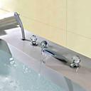billige Oljemalerier-Moderne Vannrett Montering Foss Hånddusj Inkludert LED Keramisk Ventil Tre Håndtak fem hull Krom, Baderom Sink Tappekran