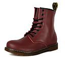זול מגפיים לגברים-בגדי ריקוד גברים PU סתיו / חורף נוחות מגפיים מונע החלקה שחור / חום כהה / אדום