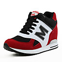 cheap Women's Athletic Shoes-Women's Shoes Suede Spring / Fall Athletic Shoes Walking Shoes Platform / Wedge Heel Round Toe Lace-up Black / Gray / Red