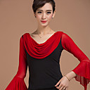 cheap Latin Dance Wear-Latin Dance Tops Women's Training Rayon Draping / Polka Dot Long Sleeve Natural Top