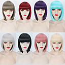 cheap Human Hair Wigs-Synthetic Wig Straight Blonde Bob Haircut / With Bangs Synthetic Hair Red / Blonde / Pink Wig Women's Short Capless Purple Blue Natural Black