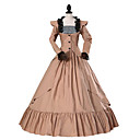 cheap Historical & Vintage Costumes-Princess Gothic Lolita Dress Classic Lolita Dress Rococo Elegant Victorian Lace Women's Dress Cosplay Brown Floral Cap Sleeve Long Sleeve Long Length Halloween Costumes