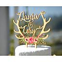 billige Kakedekorasjoner-Kakepynt Personalisert Klassisk Par Kort Papir Bryllup Jubileum Utdrikkingslag GulHage Tema Blomster Tema Klassisk Tema Eventyr Tema