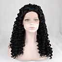 halpa Rooliasu peruukki-Synteettiset pitsireunan peruukit Kinky Curly Synteettiset hiukset Luonnollinen hiusviiva Musta Peruukki Naisten Keskikokoinen Lace Front