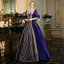cheap Historical & Vintage Costumes-Rococo Victorian Costume Women's Dress Party Costume Masquerade Ball Gown Ink Blue Vintage Cosplay Lace Cotton Long Sleeve Bell Sleeve Floor Length Long Length Ball Gown Plus Size Customized