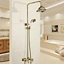 preiswerte Duscharmaturen-Duscharmaturen - Traditionell / Modern Chrom Duschsystem Keramisches Ventil / Messing / Einzigen Handgriff Zwei Löcher