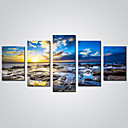 cheap Prints-Rolled Canvas Prints Landscape Leisure Modern Realism, Five Panels Canvas Horizontal Print Wall Decor Home Decoration