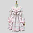 hesapli Lolita Elbiseleri-Prenses Sweet Lolita Dantel Kadın's Elbiseler Cosplay Pembe Kısa Kollu Diz Boyu Kostümler