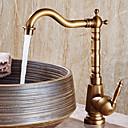 رخيصةأون حنفيات مغاسل الحمام-بالوعة الحمام الحنفية - واسع الانتشار نحاس عتيق في وسط التعامل مع واحد ثقب واحد