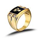 cheap Men's Rings-Men's Band Ring - Stainless Steel, Rhinestone, Imitation Diamond Fashion, Birthstones 8 / 9 / 10 Golden For Christmas Gifts / Wedding / Party