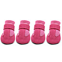 cheap Dog Clothes-Dog Boots / Shoes Cute Casual/Daily Solid Black Red Blue Pink For Pets