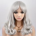 お買い得  人工毛キャップレスウィッグ-人工毛ウィッグ ルーズウェーブ 合成 グレイ かつら 女性用 ミディアム キャップレス