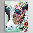 cheap Oil Paintings-Oil Painting Hand Painted - Abstract / Animals Modern Canvas