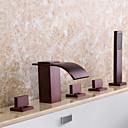 preiswerte Badewannen Armaturen-Badewannenarmaturen - Moderne Öl-riebe Bronze Badewanne & Dusche Keramisches Ventil / Drei Griffe Fünf Löcher