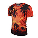 cheap Religious Jewelry-Men's Sports Boho / Street chic / Punk & Gothic Slim T-shirt - Plants Tropical Leaf, Print V Neck / Short Sleeve