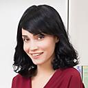 abordables Pelucas Sintéticas de Malla-Pelo humano pelucas sin tapa Cabello humano Ondulado Natural Corte Bob Con flequillo Parte lateral Corta Hecho a Máquina Peluca Mujer