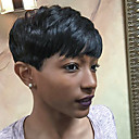 cheap Human Hair Capless Wigs-Human Hair Capless Wigs Human Hair Straight Pixie Cut / With Bangs African American Wig Short Machine Made Wig Women's