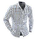 Hombre Simple Casual/Diario Camisa,Cuello Camisero Bloques Manga Larga Algodón Azul Amarillo